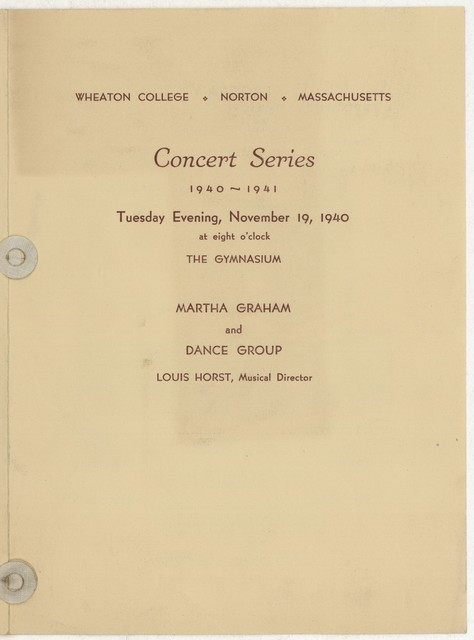 [ Martha Graham and Dance Group, Wheaton College,  November 19, 1940]