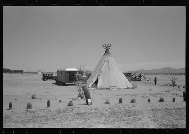 Medicine man's tent and trailer, Maricopa County, Arizona
