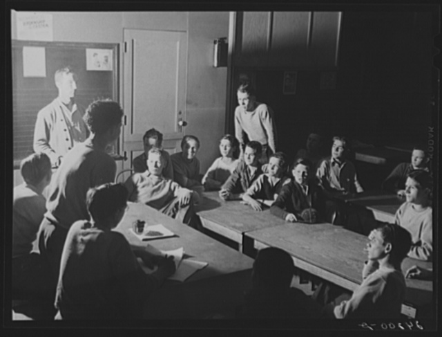 Meeting of Baseball Club. Tulare migrant camp. Visalia, California