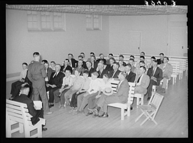 Meeting of the priesthood. Latter Day Saints Church, Mendon, Utah