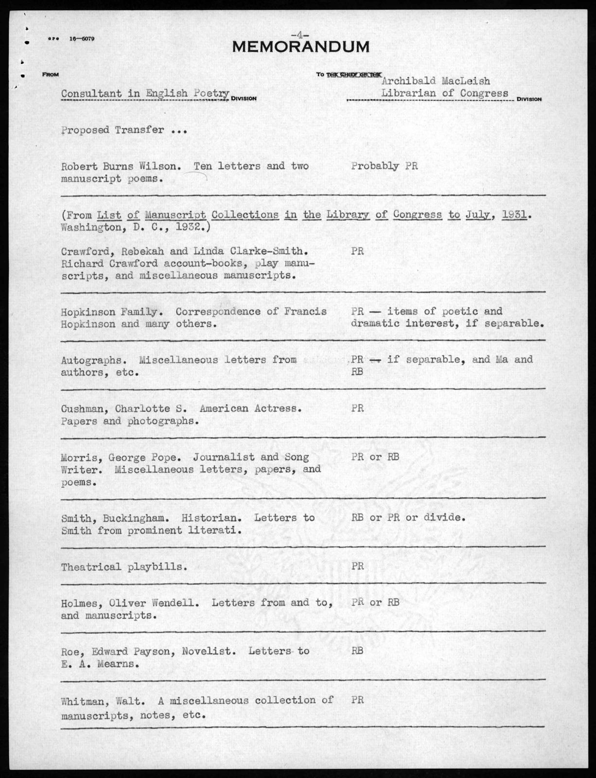 Memorandum from Joseph Auslander to Archibald MacLeish, April 9, 1940