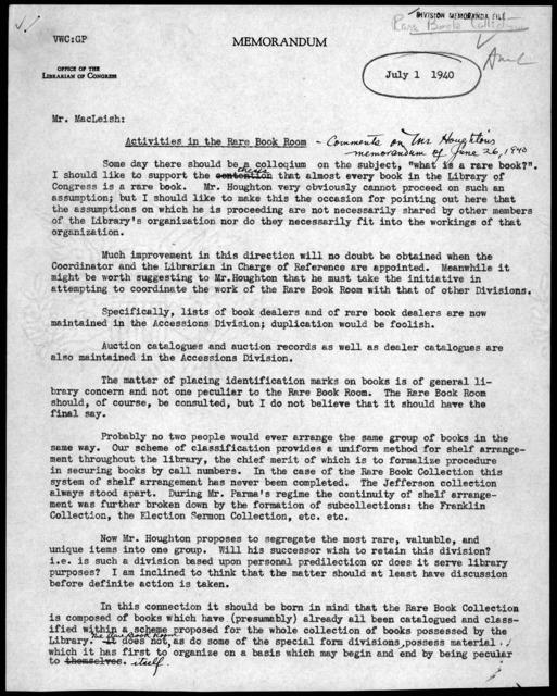 Memorandum from Verner W. Clapp to Archibald MacLeish, July 1, 1940