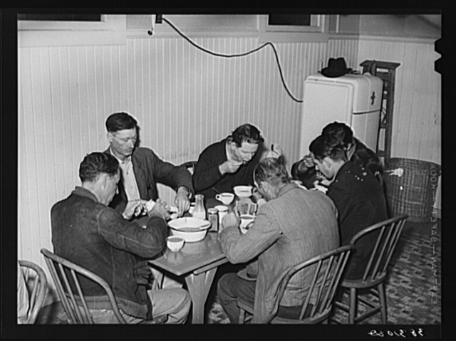 Men eating afternoon meal at the Salvation Army. Corpus Christi, Texas. The Salvation Army says that they have a heavy case load because of stranded unskilled laborers in the city. There is now a surplus supply of unskilled labor and a shortage of skilled labor in the city