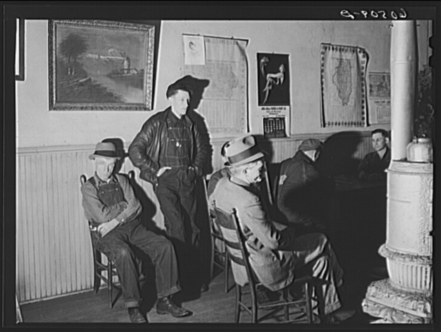 Men in lobby of thirty-five cents hotel. Dubuque, Iowa
