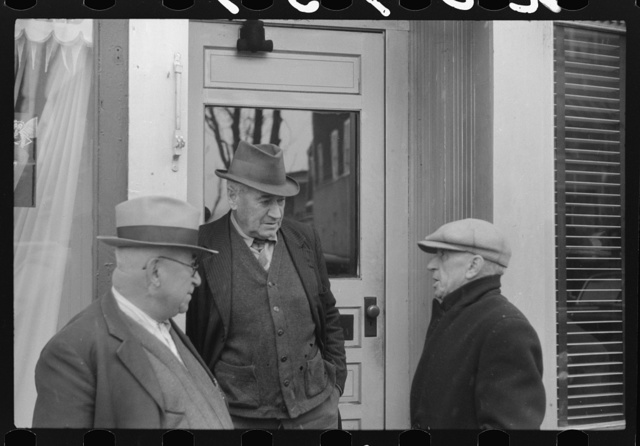 Men outside of a beer parlor in Jewett City, Connecticut