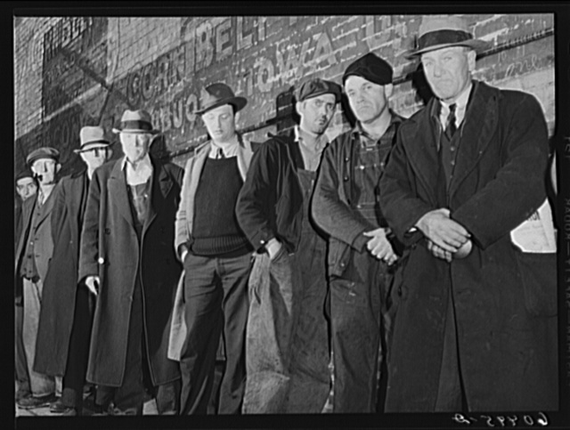 Men waiting in line outside the city mission--the first twenty-five will be fed. Dubuque, Iowa