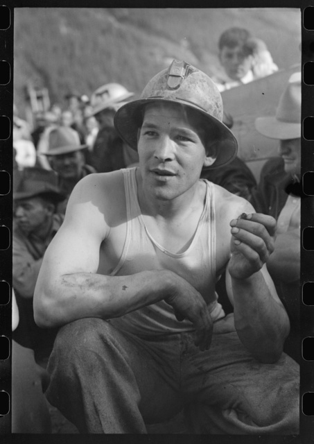 Miner at the contests at the Labor Day celebration, Silverton, Colorado. He won the power drilling contest