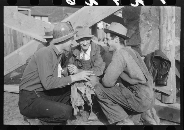 Miners talking at Labor Day celebration, Silverton, Colorado
