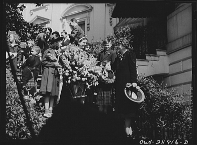 Miscellaneous lot of photographs by Barbara Wright, e.g. University of Virginia, Franconia, New Hampshire, Maine. White House south entrance. Easter party, Easter egg roll. Flowers from Friendship House