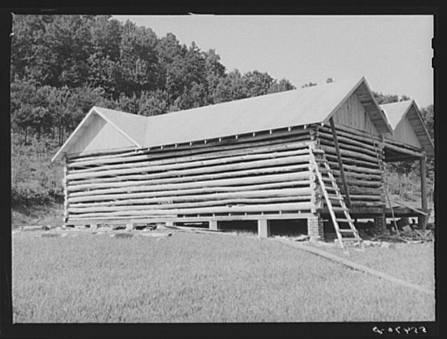 Modern log house under construction near Morehead, Kentucky