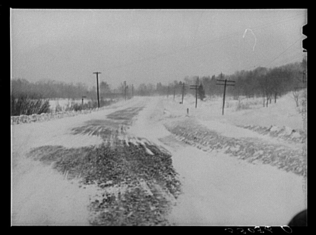 Mohawk Trail between North Adams and Greenfield, Massachusetts during blizzard