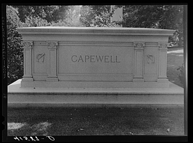 Monument to Capewell, the inventor of the famous horseshoe nail, in Cedar Hill Cemetery. Hartford, Connecticut