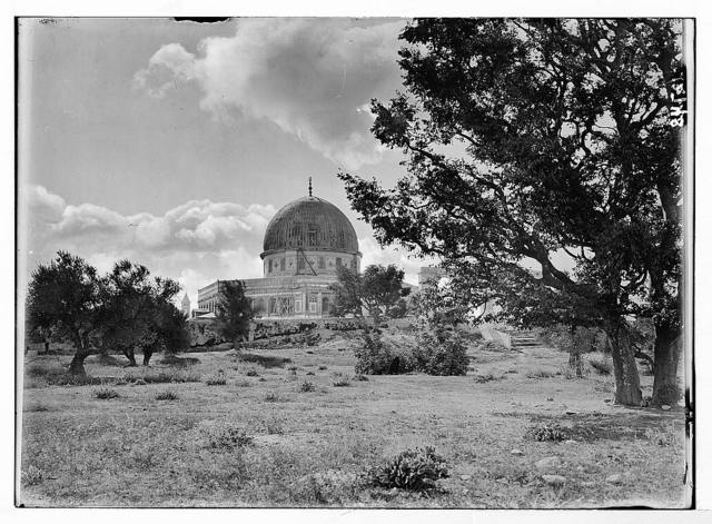 Mosque of Omar [i.e., Dome of the Rock] through trees on N.E. side.