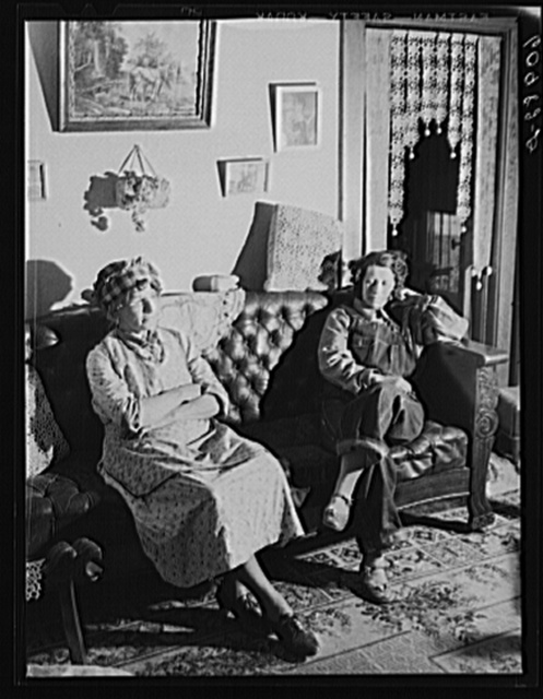 Mother and daughter, FSA (Farm Security Administration) rehabilitation borrowers. They run the farm by themselves. Grant County, Illinois