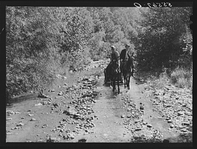 Mountaineers hauling coal up the creek bed to their homes. Morris Fork, Kentucky River, near Jackson, Kentucky