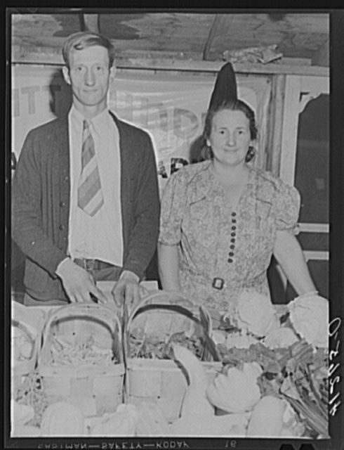 Mr. and Mrs. Bundy at their booth at the Tri-County Farmers Co-op Market at Du Bois, Pennsylvania