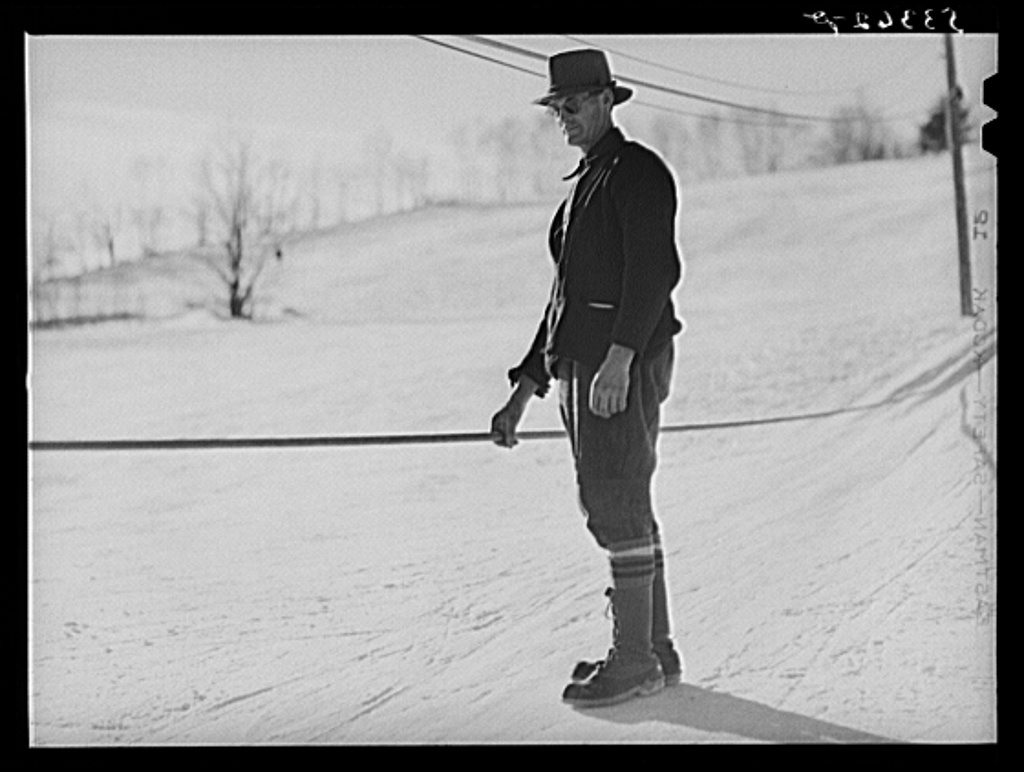 Mr. Dickinson, farmer and his ski tow, which he installed on his property three years ago, at cost of about one thousand dollars. This past winter was the first time he made money on it but business is increasingly rapidly now. Lisbon, near Franconia, New Hampshire