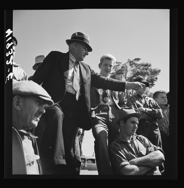Mr. E.S. Beardsley, a typical New England auctioneer. A great talker, he is active in local politics and in church work. At the auction of Mr. Anthony Yacek's farm. Derby, Connecticut