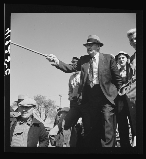 Mr. E.S. Beardsley, a typical New England auctioneer. A great talker, he is also active in local politics and in church work. At the auction sale of the farm of Mr. Anthony Yacek. Derby, Connecticut