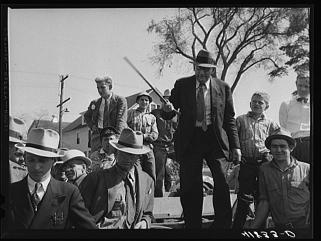 Mr. E.S. Beardsley, auctioneer. At the auction of Mr. Anthony Tacek's farm in Derby, Connnecticut