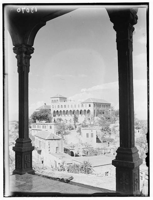 Mr. Oliver's school, Ras-el-Matn. General view of school and surroundings through pillars from village