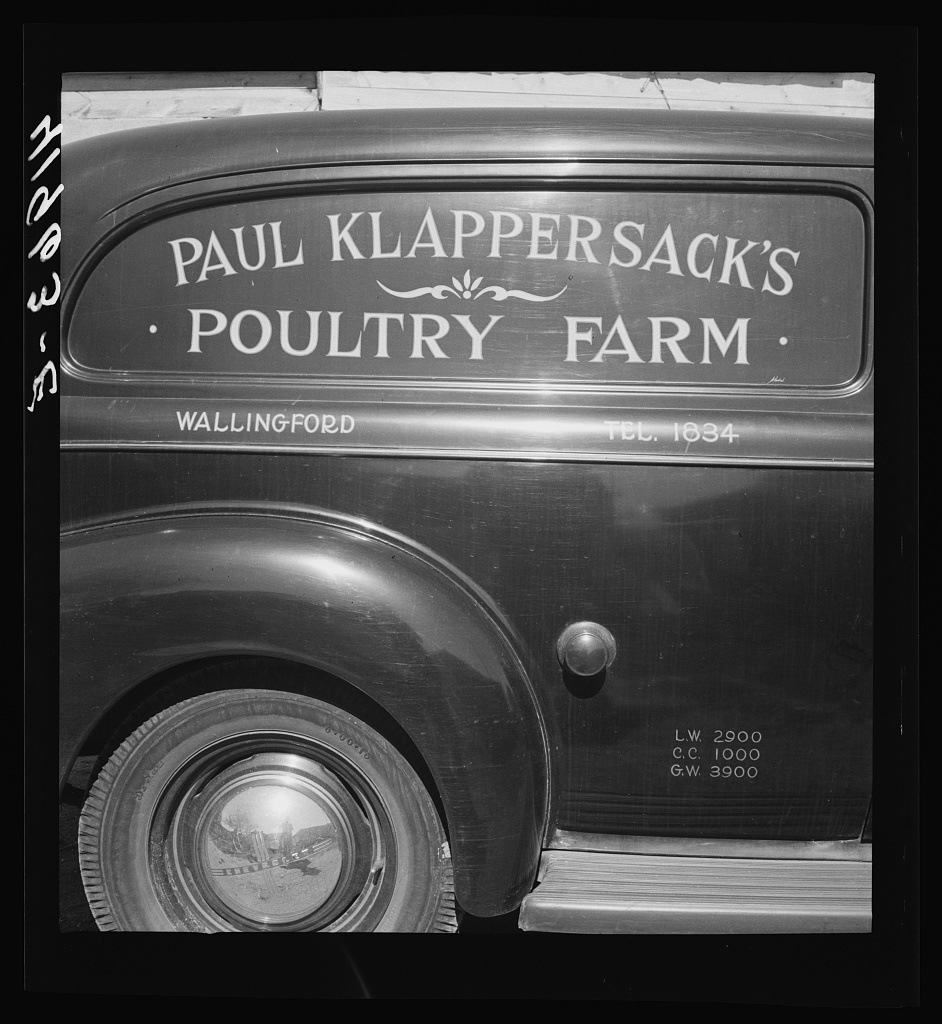 Mr. Paul Klappersack, Jewish poultry farmer, was able to buy his poultry truck with the aid of FSA (Farm Security Administration). Wallingford, Connecticut