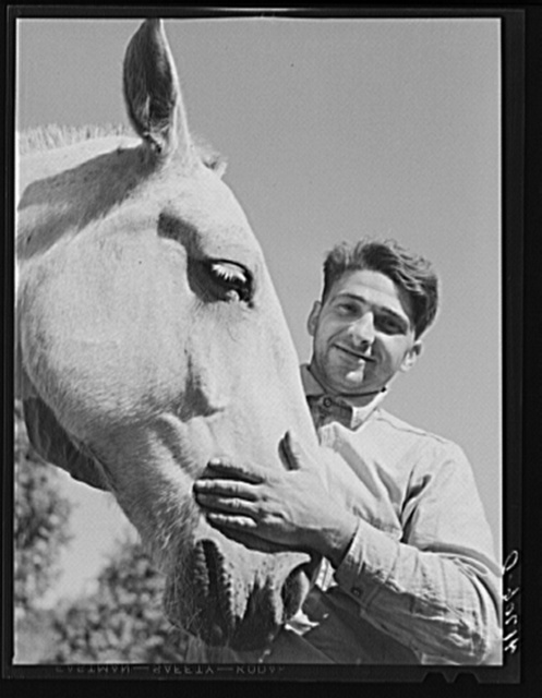 Mr. Thomas Festa, Italian FSA (Farm Security Administration) client with his horse on his farm two miles out of Newtown, Connecticut