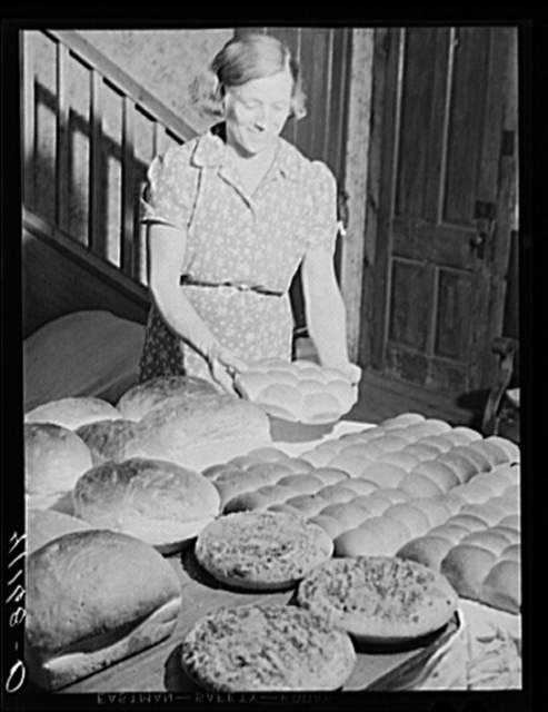 Mrs. Kness, member of Du Bois Market, with baked goods to be sold at the market. Near Penfield, Pennsylvania