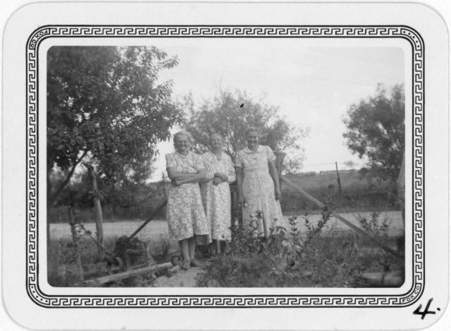 Mrs. Minnie Smith, Mrs. Elizabeth Fulks, Mrs. Valbertina Kimball,  at Mrs. Fulks' home in Stanton, Texas