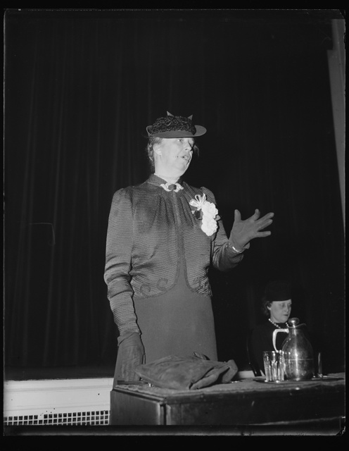 MRS. ROOSEVELT ADDRESSES WIVES OF MEMBERS OF CONGRESS ON HOW TO AID HUSBAND'S CAMPAIGNS. WASHINGTON, D.C. JANUARY 11. MRS. FRANKLIN D. ROOSEVELT TODAY, ADDRESSING MEMBERS OF MRS. HUGH BUTLER'S CLASS IN PUBLIC SPEAKING OF WIVES OF MEMBERS OF MEMBERS OF CONGRESS, PASSED ON SEVERAL TIPS ON HOW THE LADIES COULD AID THEIR HUSBANDS' ELECTION CAMPAIGNS. CLASS MEMBERS ARE WIVES OF BOTH DEMOCRATIC AND REPUBLICAN MEMBERS OF CONGRESS