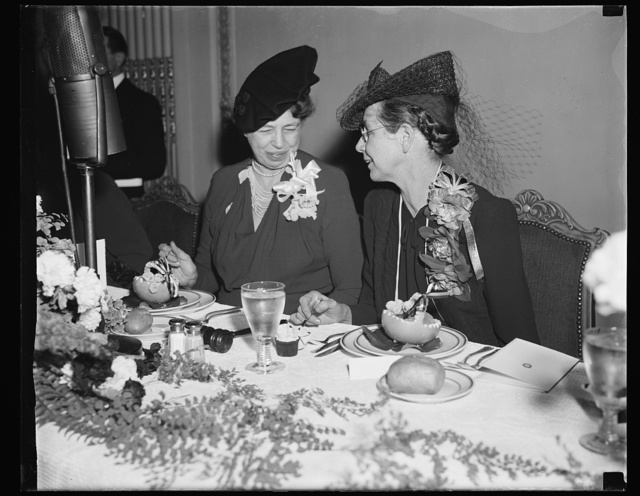 MRS. ROOSEVELT HONORED AT BREAKFAST BY CONGRESSIONAL CLUB. WASHINGTON, D.C. FEBRUARY 12. MRS. FRANKLIN D. ROOSEVELT, SHOWN HERE WITH MRS. EDWARD R. BURKE, WIFE OF THE SENATOR FROM NEBRASKA, WAS THIS MORNING HONORED AT THE CONGRESSIONAL CLUB'S ANNUAL BREAKFAST. THE CONGRESSIONAL CLUB IS COMPOSED OF WIVES OF WASHINGTON OFFICIALS IN THE CONGRESS, SUPREME COURT AND EXECUTIVE DEPARTMENTS. REINO LUOMA, YOUNG FINNISH-AMERICAN PIANIST, WAS SELECTED AS MUSICIAN FOR THE FUNCTION. MRS. BURKE IS PRESIDENT OF THE CONGRESSIONAL CLUB