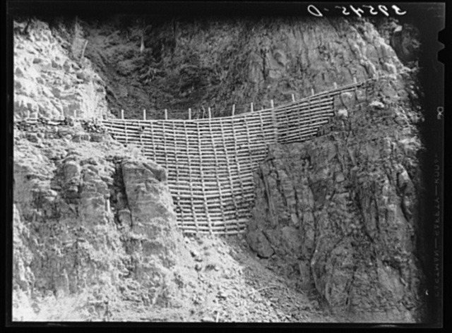 Much revetment work is required in building mountain roads near Telluride, Colorado