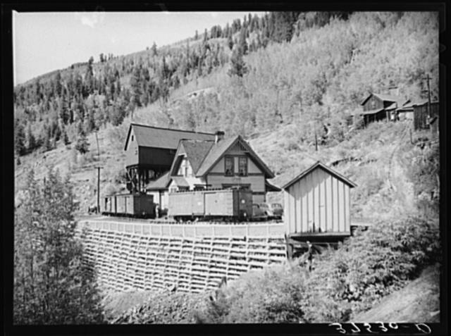 Narrow gauge railroad station at Ophir, Colorado
