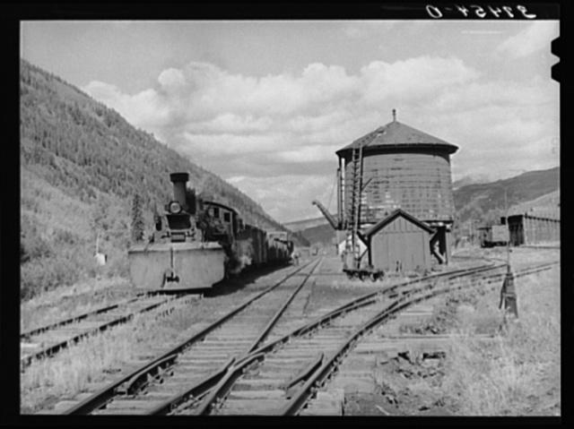 Narrow gauge railway yards, train and water tank at Telluride, Colorado