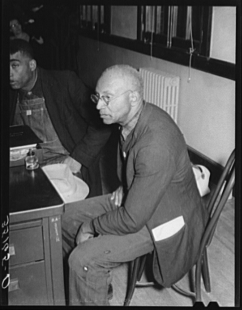 Negro tenant farmer, member of UCAPAWA (United Cannery, Agricultural, Packing and Allied Workers of America), at meeting with FSA (Farm Security Administration) supervisor to discuss various forms of help for the sharecroppers and tenant farmers. Sapulpa, Oklahoma