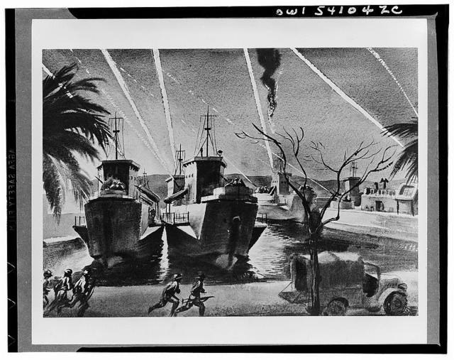 Night raid in Bizerte. LCIs put up a screen of anti-aircraft fire from their 20mm guns during a raid of enemy planes on Allied installations in Bizerte.