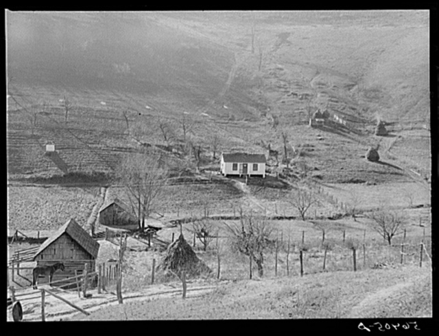 Noah Garland's home on the hillside near Barbourville, Knox County, Kentucky. Southern Appalachian Project
