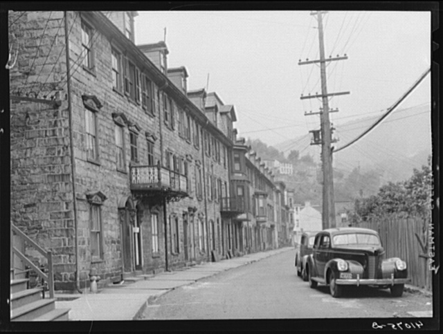 Old houses on Race Street. Mauch Chunk, Pennsylvania