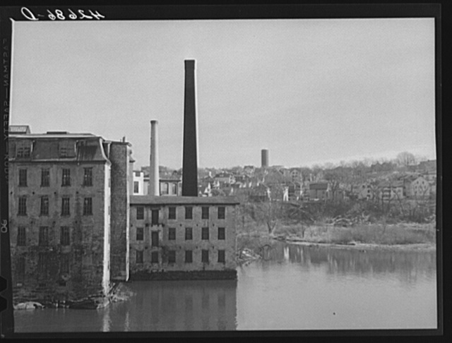 Old mills on the river. Woonsocket, Rhode Island