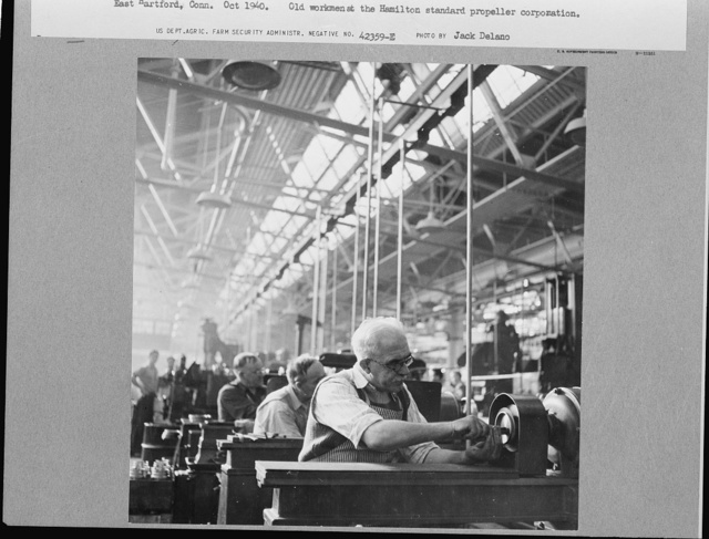 Old workman at the Hamilton Standard Propeller works at East Hartford, Connecticut