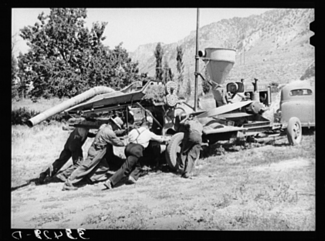 One of the troubles with the Harper hay chopper is the difficulty of moving the stationary machine. Box Elder County, Utah