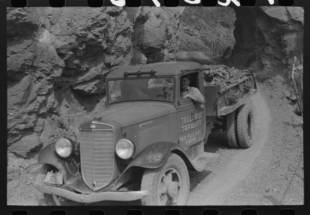 Ore being brought down from the gold mine by truck, Telluride, Colorado
