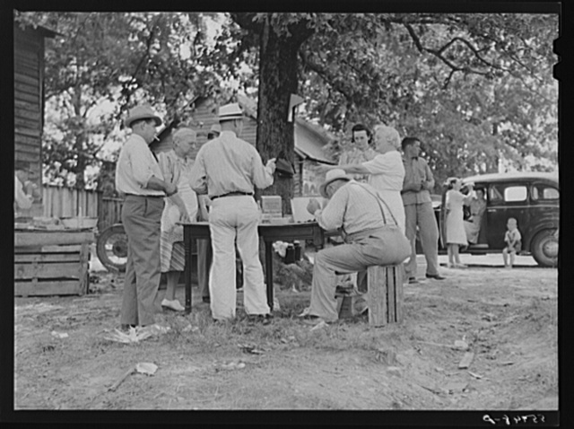 Parent Teachers Association of Prospect Hill, Caswell County serving and selling Brunswick stew dinner in Mebane, North Carolina on opening day of tobacco market, to raise money for a new gymnasium for the Prospect Hill consolidated school in Caswell County, North Carolina