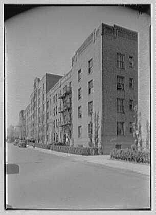 Phipps Garden Apartments, 5101 39th Ave., Long Island City. Old section, east facade, sharp view