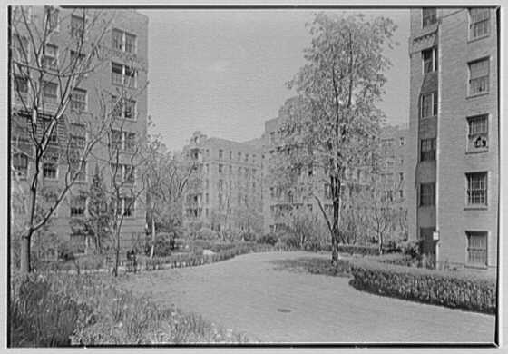 Phipps Garden Apartments, 5101 39th Ave., Long Island City. Old section, garden from elevation at east I