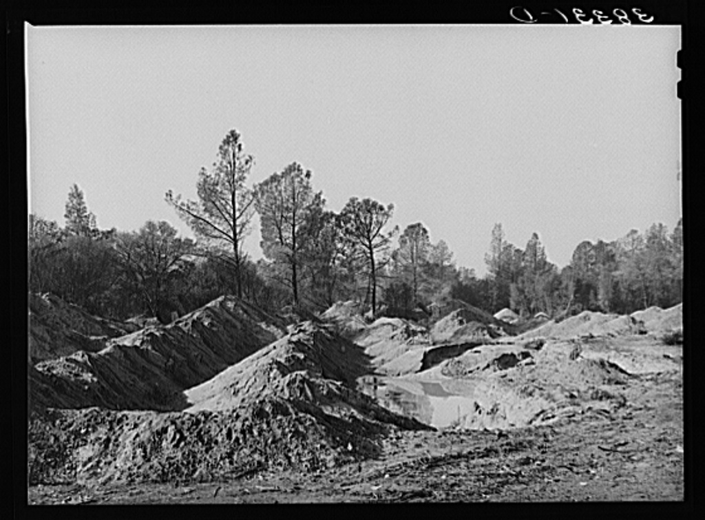 Placer mining for gold. Old Virginia City, Placer County, California