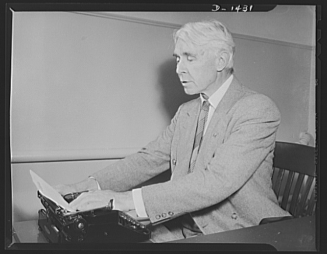 "Poet and historian turns to films. Carl Sandburg is shown here as he was writing the commentary for ""Bomber,"" nation defense motion picture just completed by the Office of Emergency Management  (OEM) film unit. Mr. Sandburg is famous as the Pulitizer prize winning author of ""The War Years"", monumental biography on Abraham Lincoln, and as the author of numerous poems and other works. Mr, Sandburg is also famous as a musician, newspaper columnist and authority on Americans. The commentary for ""Bomber"" was his first excursion into film making. He volunteered his services to the defense program and served without pay"