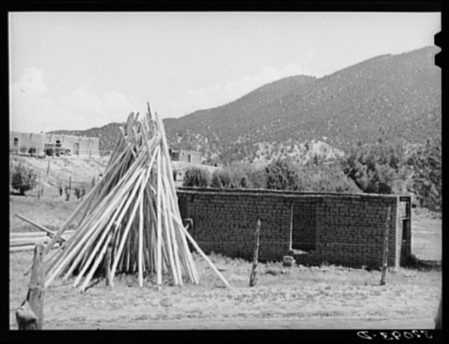 Poles used for vigas (roof construction) and adobe house under construction. Amalia, New Mexico