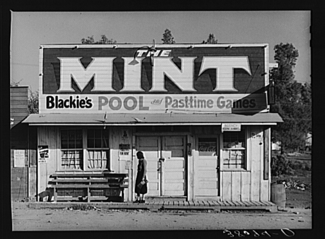 Pool hall and game parlor, Central Valley, California. This is one of the boom towns near Shasta Dam
