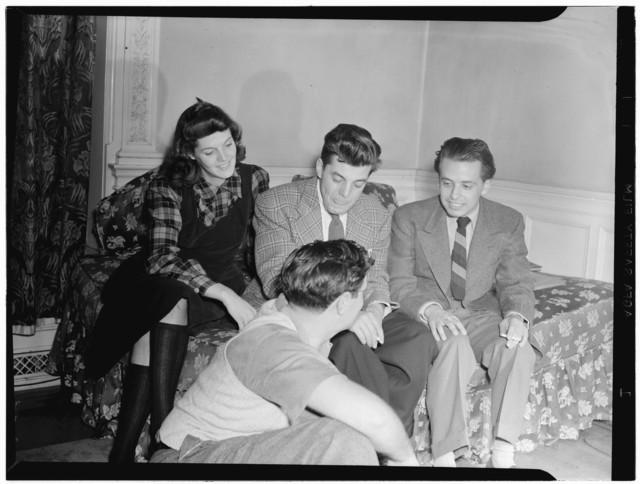 [Portrait of Adele Girard, Joe Marsala, Nesuhi Ertegun, and William P. Gottlieb, Turkish Embassy, Washington, D.C., ca. 1940]